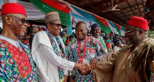 Buhari and Ojukwu's son at the campaign rally
