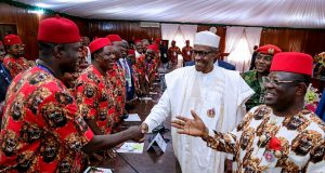 Gov. Umahi introducing guests to President Buhari