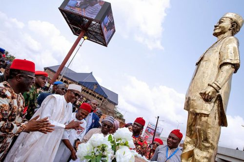 Buhari at the Akanu Ibiam statue