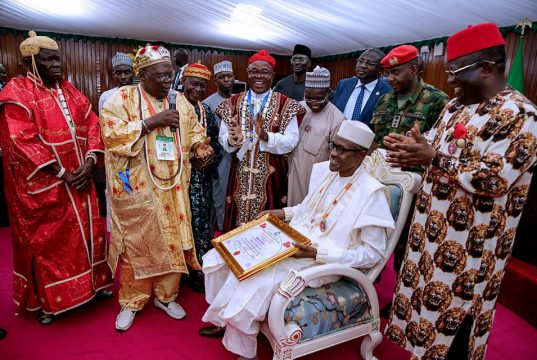 Buhari being conferred with chieftaincy title by traditional rulers