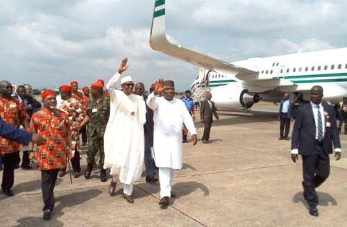 Buhari and Gov. Umahi at the airport