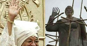 Liberian President Johnson-Sirleaf and her statue in Owerri, Imo State