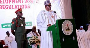 President Muhammadu Buhari delivering his speech at the NTDA summit