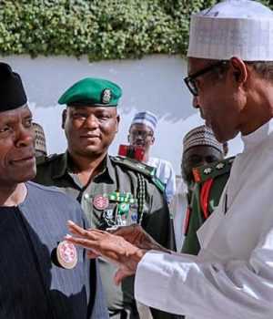 President Buhari discussing with VP Osinbajo