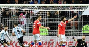 Aguero headed home Argentina's lone victory against Russia