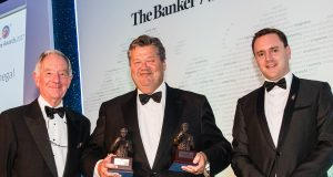 l-r: Former BBC correspondent, Michael Buerk; Chief Executive, UBA Capital(Europe) Limited, representing UBA Group, Andrew Martin; and Editor, Middle East and Africa, The Banker. James King, during The Banker Awards 2017 ceremony in London on Wednesday