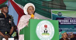 Aisha Buhari making a speech