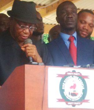 Liberia's vice president Joseph Boakai making a concessional statement