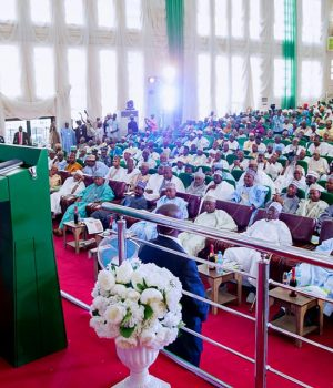 Buhari addressing APC Stakeholders in Kano