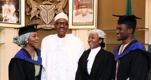 Buhari with his children