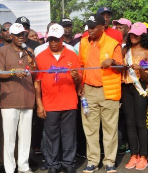 L-R - The Leader of the Seagull Band, Senator Florence Ita-Giwa; Minister of Information and Culture, Alhaji Lai Mohammed; The Deputy Governor of Cross River State, Prof. Ivara Esu; Senator Bassey Ewa-Henshaw; Miss Africa 2016, Ncurite Mendes and the Permanent Secretary, Federal Ministry of Information and Culture, Deaconess Grace Isu Gekpe at the flag-off of the final dry run of the Calabar Carnival