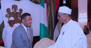 ECOWAS Commission chairperson, Marcel A. de Souza with President Buhari