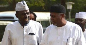 Former-NSA-Colonel-Sambo-Dasuki-with-the-author-of-An-Encounter-with-the-Spymaster-Yushau-Shuaib-at-Federal-High-Court-Abuja
