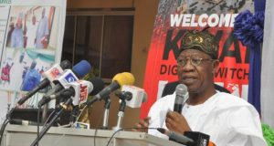 Lai Mohammed speaking at the launch of DSO in Ilorin