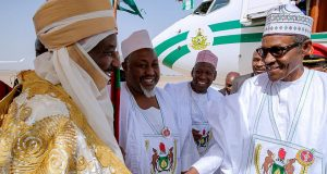 Emir of Kano, Muhammad Sanusi and President Buhari on arrival in Kano for a two-day visit