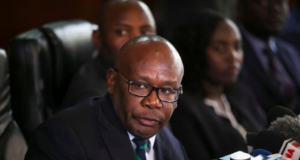 Kenya's Attorney General Githu Muigai speaks during a press conference in Nairobi, Kenya