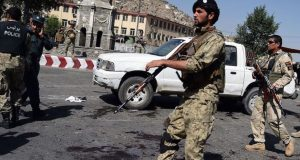 Soldiers on guard after the Kabul suicide attack