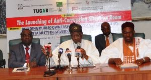 Chairman, House Committee on Financial Crimes, Hon. Kayode Oladele; Hon. Minister of Information and Culture, Alhaji Lai Mohammed and Prof. Shehu Abdullahi of the National Open University, at the launch of the Anti-Corruption Situation Room (ACSR) in Abuja on Tuesday.