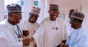 Gov. Abubakar Bello of Niger; Ibrahim Gaidam of Yobe, Yahaya Bello of Kogi, Abdullahi Ganduje of Kano, Jibrilla Bindo of Adamawa and Simon Lalong of Plateau