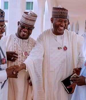 Gov. Abubakar Bello of Niger; Ibrahim Gaidam of Yobe, Yahaya Bello of Kogi, Abdullahi Ganduje of Kano, Jibrilla Bindo of Adamawa and Simon Lalong of Plateau