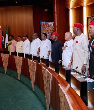 President Buhari in a meeting with South East APC leaders
