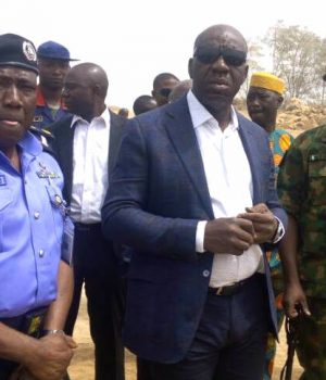 Governor Obaseki (3rd from right), flanked by the Commissioner of Police, Edo State, Johnson Kokumo (2nd from left), Commander of 4 Brigade, Nigerian Army, Major General Ibrahim Garba at the Obu mine site in Okpella, Edo State, where they arrested officials of BUA Int'l Limited
