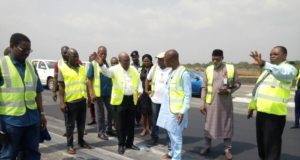 FAAN officials inspecting the Akanu Ibiam International Airport runway