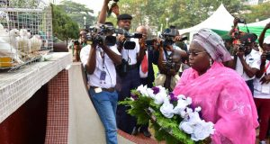 Lagos Dep. Gov. Idiat Adebule laying the wreath