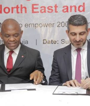 Elumelu with the Deputy Regional Director for International Committee of the Red Cross (ICRC) Africa, Patrick Youssef during the historic Signing Ceremony of MoU between the Tony Elumelu Foundation and the ICRC to Empower 200 Nigerian Entrepreneurs in Nigeria's North East and Niger Delta in Abuja on Sunday