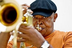 The late Hugh Masekela