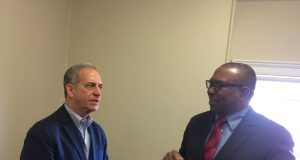 Sen. Russ Feingold( left), former Senator and the School's Senior Fellow of Yale University with Fmr. Gov. Peter Obi(right) during his visit and speech at Yale University
