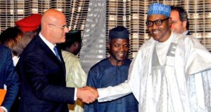 Eni boss, Antonio Vella, with President Buhari