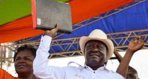 Odinga during the self declaration