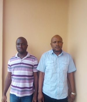 Ex-First City Monument Bank staff, Ebenezer Adelowo and Walter Ekomaye,