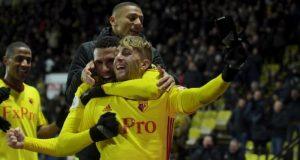 Watford players jubilating