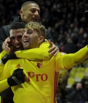 Watford players jubilating