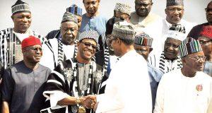 President Muhammadu Buhari with Benue leaders