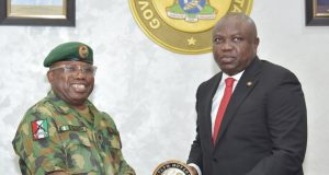General Officer Commanding (GOC), 81 Division of the Nigerian Army, Major General Enebong Okon Udoh with Gov. Ambode