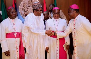 Buhari with Catholic priests