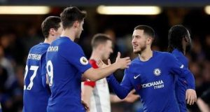 Eden Hazard with Morata after the West Brom's bashing