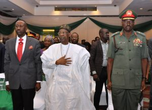 National Security Adviser, Maj.-Gen. Babagana Mohammed Monguno (rtd); Minister of Information and Culture, Alhaji Lai Mohammed, and representative of Chief of Defence Staff, Maj.-Gen. A Mohammed at the Public Presentation of Policy Framework and National Action Plan for Preventing and Countering Violent Extremism in Abuja on Tuesday