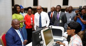 Gov. Ambode registering for the national identity card