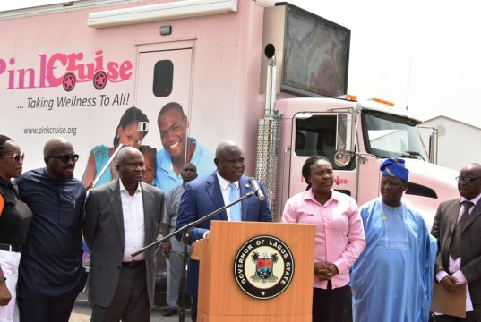 Gov. Ambode while presenting the mobile cancer centre to CECP