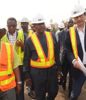 Aliko Dangote, during the inspection f the Apapa Whart Concrete road project