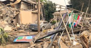 Reminant of Kaduna APC factional office after demolition