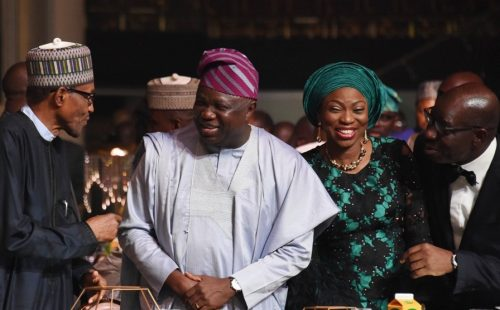 Buhari with Gov. Ambode and wife in Lagos