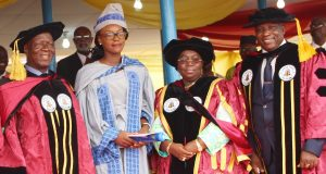 L - R: Chairman, Lagos State Polytechnic Governing Council Prof, Tajudeen Gbadamosi; Overall Best Graduating Student Miss Omotoyosi Esther Fatogun; Lagos State Deputy Governor, Dr. Idiat Oluranti Adebule and the Rector, Lagos State Polytechnic, Mr Samuel Oluyinka Sogunro during the 26th Convocation Ceremony of Lagos State Polytechnic held at the Convocation Ground Ikorodu Campus on Thursday