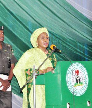 Aisha Buhari addressing the 2018 World Women's Day celebration n Abuja