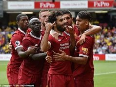 Salah and teammates celebrate the thrashing of Watford