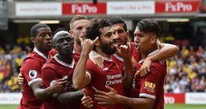 Salah and teammates celebrate the thrashing of Watford